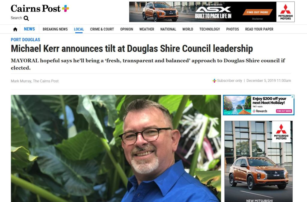 Cairns Post Article - Michael Kerr announces tilt at Douglas Shire Council leadership