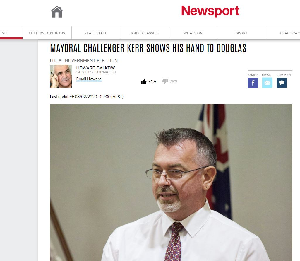 Newsport: Mayoral Challenger Kerr Shows His Hand to Douglas